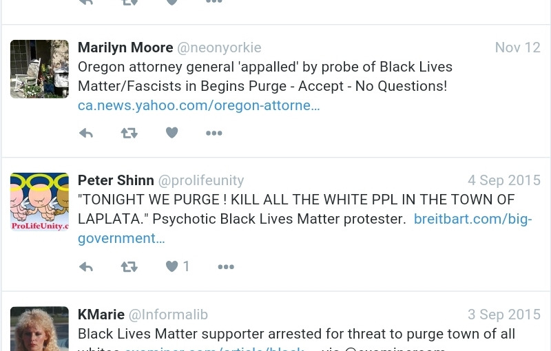 Black Lives Matter supporters say that they are going to purge if Donald Trump becomes president on Twitter.